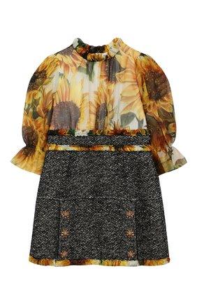 Детское платье из шелка и шерсти DOLCE & GABBANA разноцветного цвета, арт. L51DT5/G7TRD/8-14 | Фото 1