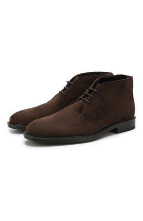 Мужские замшевые ботинки TOD'S темно-коричневого цвета, арт. XXM45A00D82RE0   Фото 1