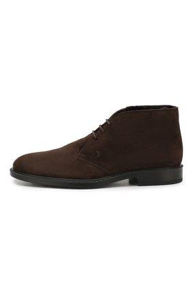 Мужские замшевые ботинки TOD'S темно-коричневого цвета, арт. XXM45A00D82RE0   Фото 3