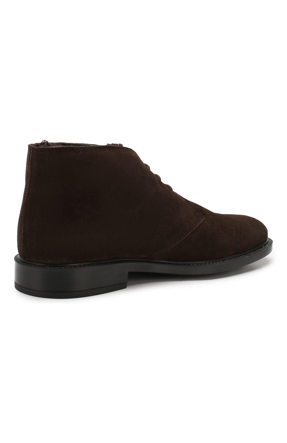 Мужские замшевые ботинки TOD'S темно-коричневого цвета, арт. XXM45A00D82RE0   Фото 4