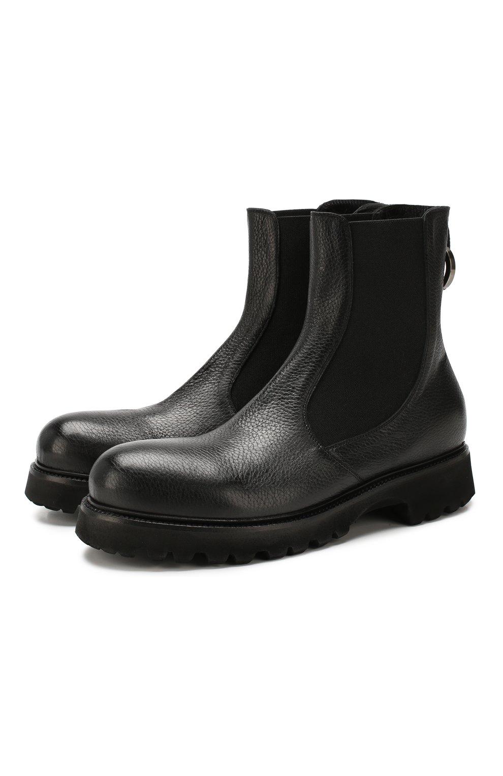 Мужские кожаные челси ROCCO P. черного цвета, арт. 9011/R0CK DEER   Фото 1