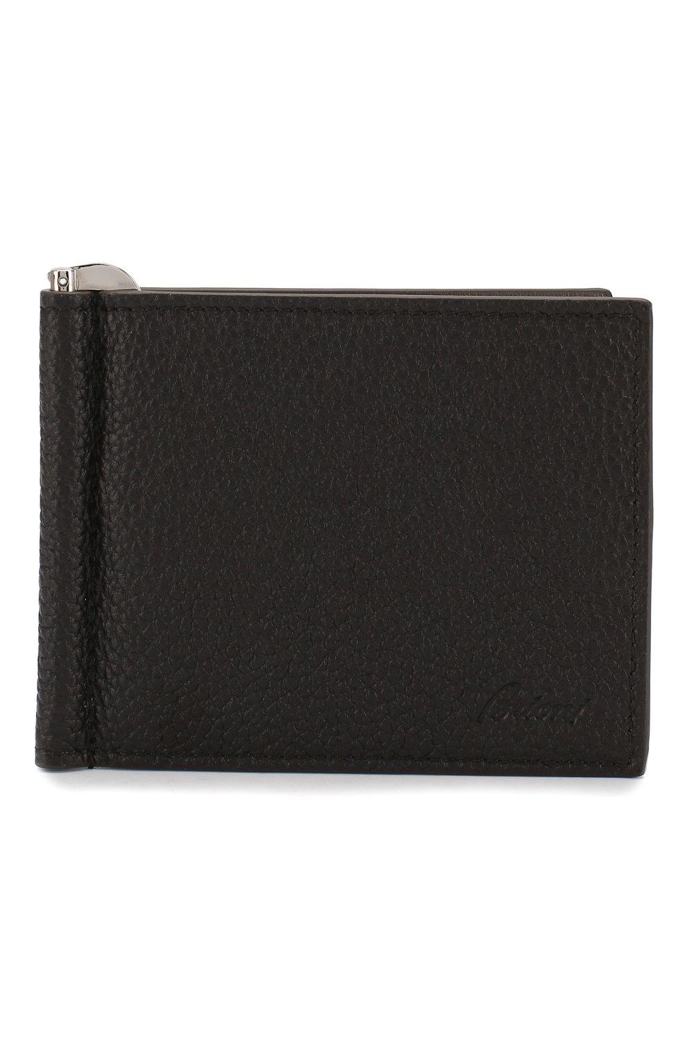 Мужской кожаный зажим для денег BRIONI темно-коричневого цвета, арт. 0HSG0L/04702 | Фото 1