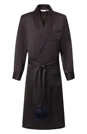 Мужской шелковый халат DEREK ROSE темно-синего цвета, арт. 5535-BRIN045 | Фото 1