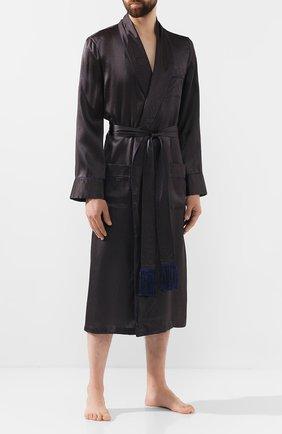 Мужской шелковый халат DEREK ROSE темно-синего цвета, арт. 5535-BRIN045 | Фото 2