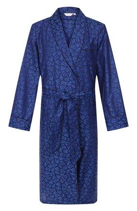 Мужской хлопковый халат DEREK ROSE темно-синего цвета, арт. 5505-PARI016 | Фото 1