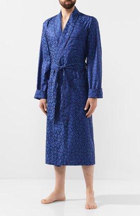 Мужской хлопковый халат DEREK ROSE темно-синего цвета, арт. 5505-PARI016 | Фото 2
