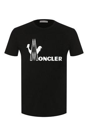 Мужская хлопковая футболка MONCLER черного цвета, арт. E2-091-80486-50-8390T | Фото 1