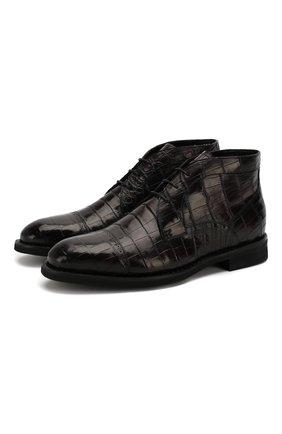 Мужские ботинки из кожи крокодила BARRETT бордового цвета, арт. 192U095.2/C0CC0DRILL0 CREAM/CNIL | Фото 1