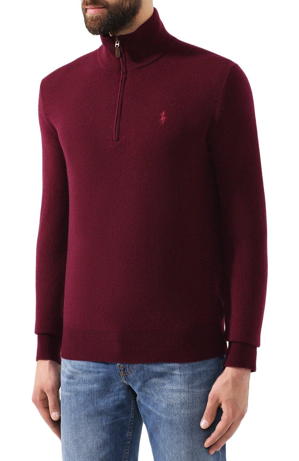 Мужской шерстяной джемпер POLO RALPH LAUREN бордового цвета, арт. 710723053 | Фото 3