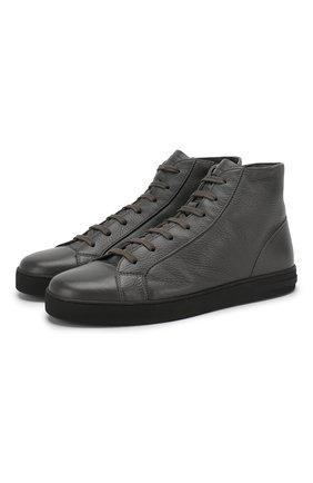 Мужские кожаные кеды MORESCHI серого цвета, арт. 43182/CQ | Фото 1