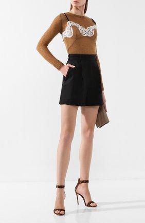 Женские шорты KENZO черного цвета, арт. F962SH0475AH   Фото 2 (Материал внешний: Синтетический материал, Шерсть; Длина Ж (юбки, платья, шорты): Мини; Стили: Кэжуэл; Женское Кросс-КТ: Шорты-одежда)