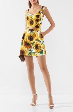 Женские хлопковые шорты DOLCE & GABBANA желтого цвета, арт. FTAVNT/HS5EB | Фото 2