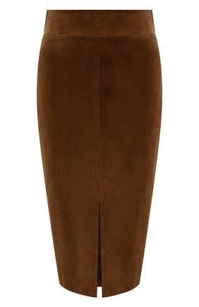 Женская замшевая юбка TOM FORD коричневого цвета, арт. GCL780-LEX226 | Фото 1