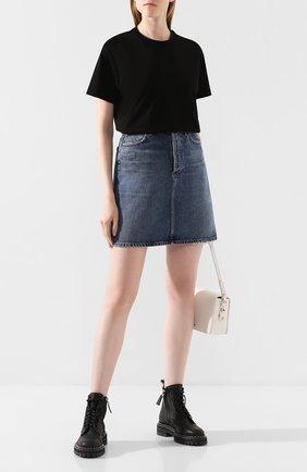 Женская хлопковая футболка BURBERRY черного цвета, арт. 8017121 | Фото 2
