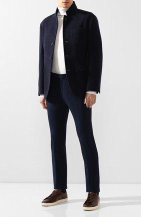 Мужской хлопковые брюки BERLUTI темно-синего цвета, арт. R16TCU57-002 | Фото 2