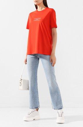 Женская хлопковая футболка STELLA MCCARTNEY красного цвета, арт. 381701/SMW82   Фото 2