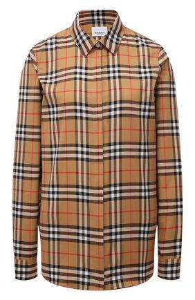 Женская хлопковая рубашка BURBERRY коричневого цвета, арт. 8014010 | Фото 1