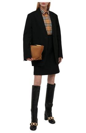 Женская хлопковая рубашка BURBERRY коричневого цвета, арт. 8014010 | Фото 2