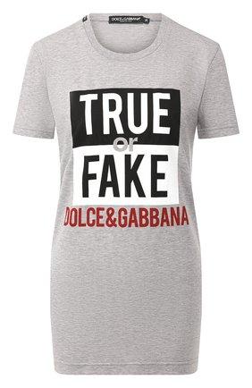 Женская хлопковая футболка DOLCE & GABBANA светло-серого цвета, арт. F8K74T/G7STQ | Фото 1