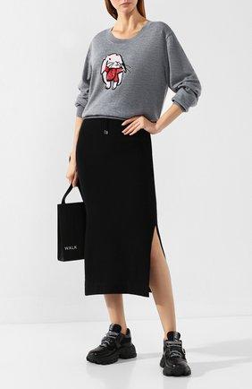Женская шерстяной пуловер MARKUS LUPFER серого цвета, арт. KN2644 | Фото 2