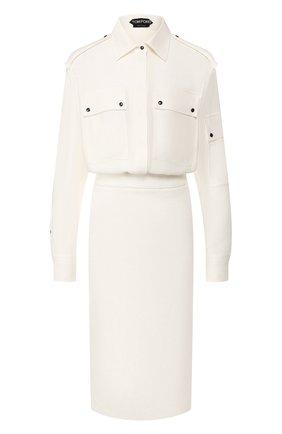 Женское платье из вискозы TOM FORD белого цвета, арт. AB2627-FAX056 | Фото 1