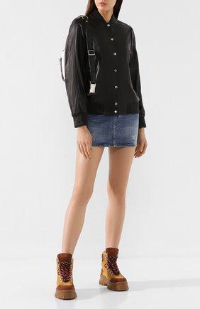 Женский кожаный бомбер KENZO черного цвета, арт. F962BL9247AB | Фото 2