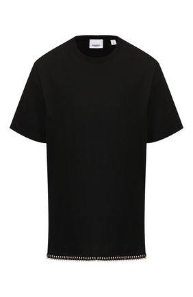 Женская хлопковая футболка BURBERRY черного цвета, арт. 8017145 | Фото 1