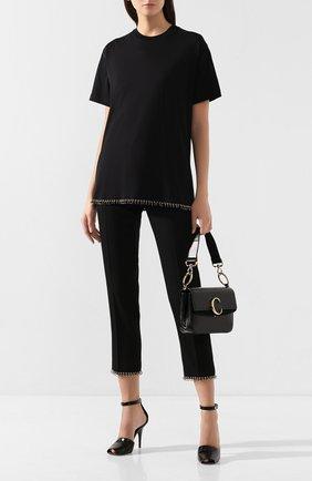 Женская хлопковая футболка BURBERRY черного цвета, арт. 8017145 | Фото 2