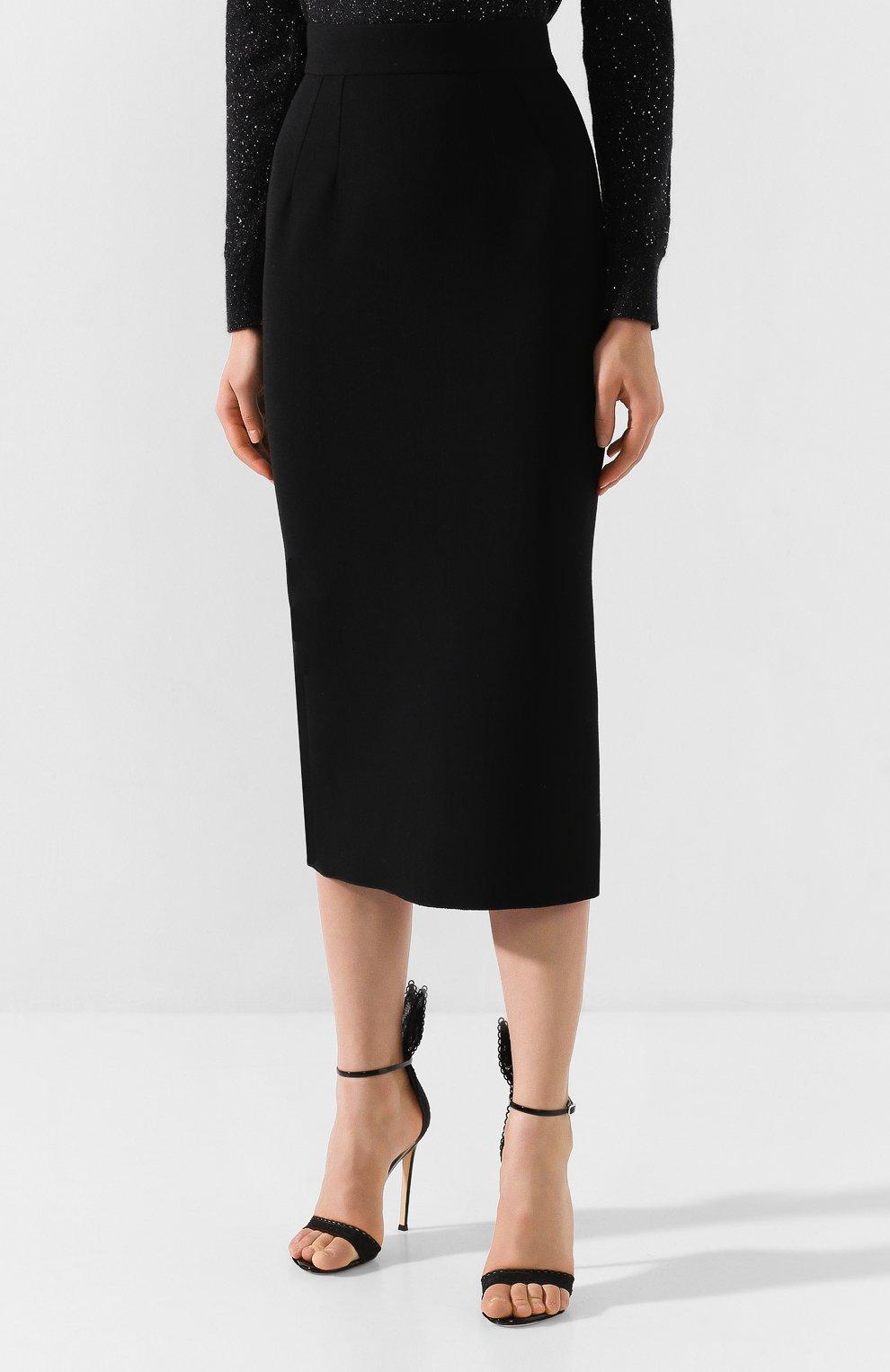 Женская юбка-миди DOLCE & GABBANA черного цвета, арт. F4BQ5T/FURF0 | Фото 3