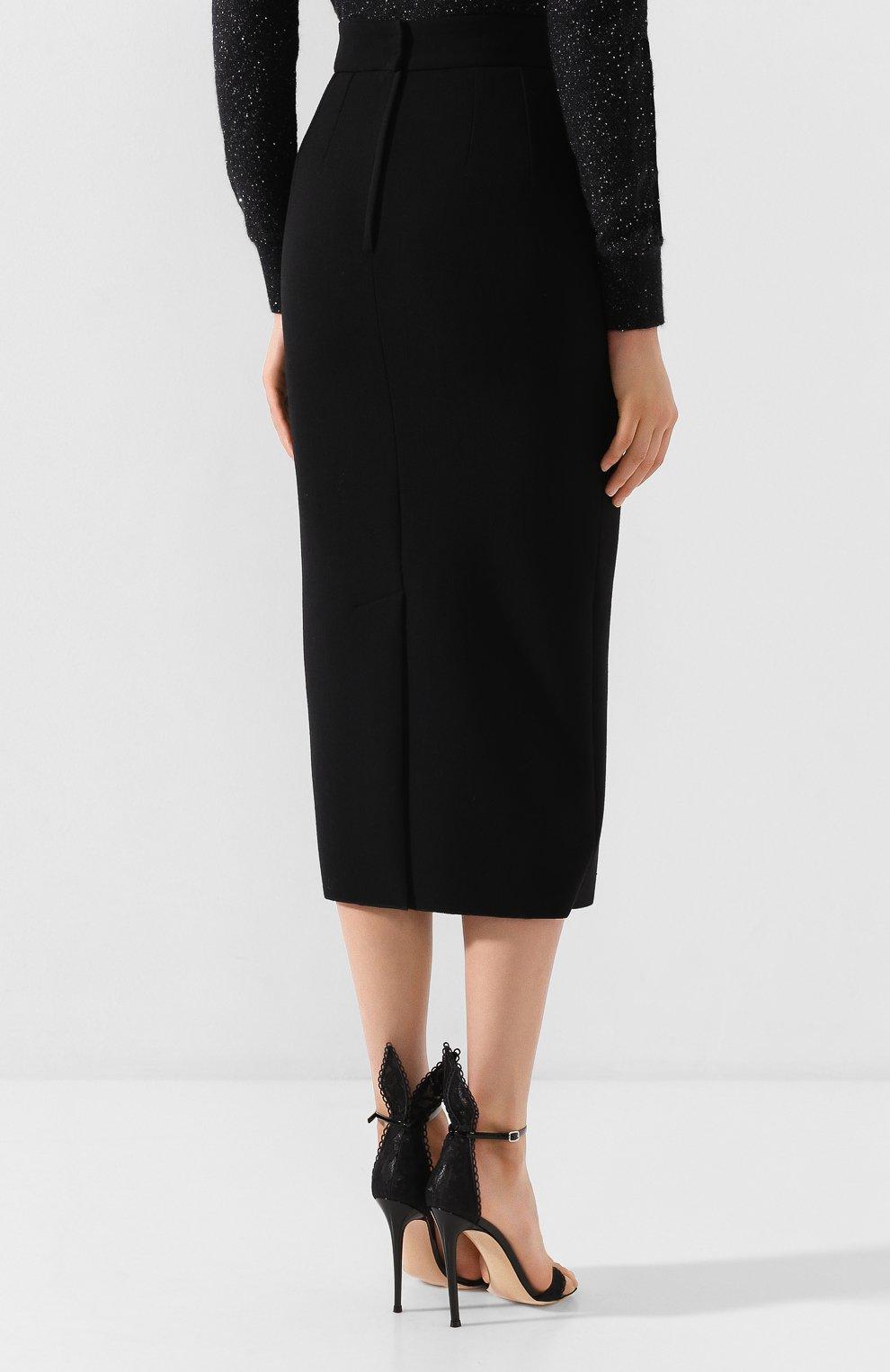 Женская юбка-миди DOLCE & GABBANA черного цвета, арт. F4BQ5T/FURF0 | Фото 4