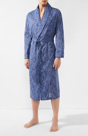 Мужской хлопковый халат ROBERTO RICETTI синего цвета, арт. VESTAGLIA R0BE/0R02313 | Фото 2