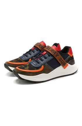 Мужские комбинированные кроссовки BURBERRY разноцветного цвета, арт. 8016450 | Фото 1
