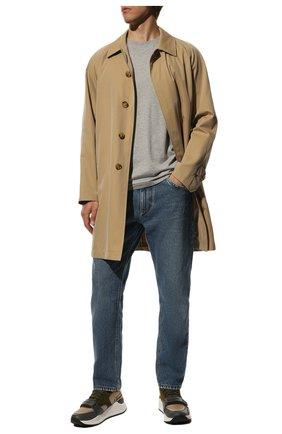 Мужская хлопковая футболка BURBERRY серого цвета, арт. 8014023 | Фото 2
