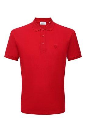 Мужское хлопковое поло BURBERRY красного цвета, арт. 8014317 | Фото 1