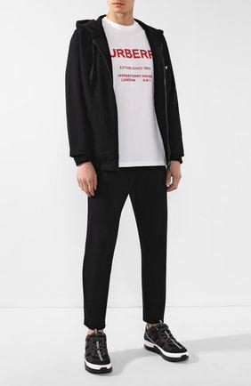 Мужская хлопковая футболка BURBERRY белого цвета, арт. 8017225 | Фото 2