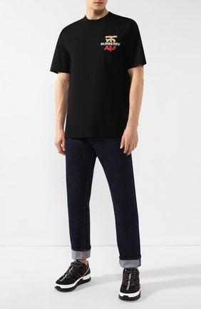 Мужская хлопковая футболка BURBERRY черного цвета, арт. 8017494   Фото 2