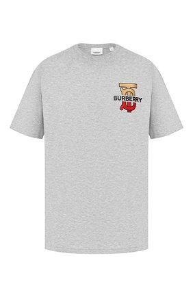 Мужская хлопковая футболка BURBERRY серого цвета, арт. 8017495 | Фото 1