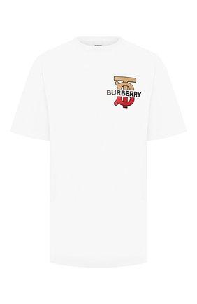 Мужская хлопковая футболка BURBERRY белого цвета, арт. 8017496 | Фото 1