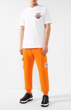 Мужская хлопковая футболка BURBERRY белого цвета, арт. 8017496 | Фото 2