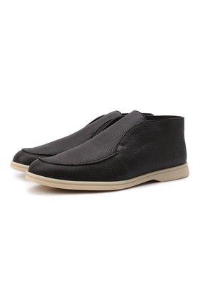 Мужские кожаные ботинки open walk LORO PIANA темно-коричневого цвета, арт. FAI3276 | Фото 1