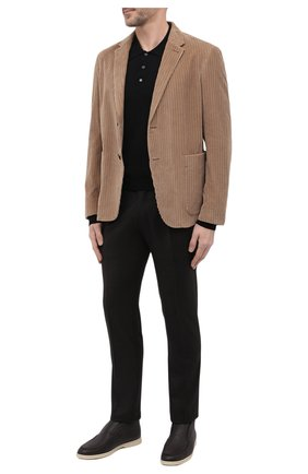 Мужские кожаные ботинки open walk LORO PIANA темно-коричневого цвета, арт. FAI3276 | Фото 2