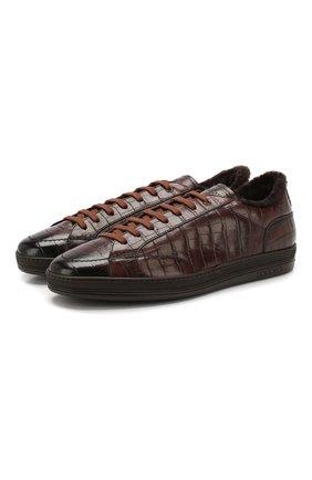 Мужские кожаные кеды DOUCAL'S темно-коричневого цвета, арт. DU1773GENTPM021TM06 | Фото 1