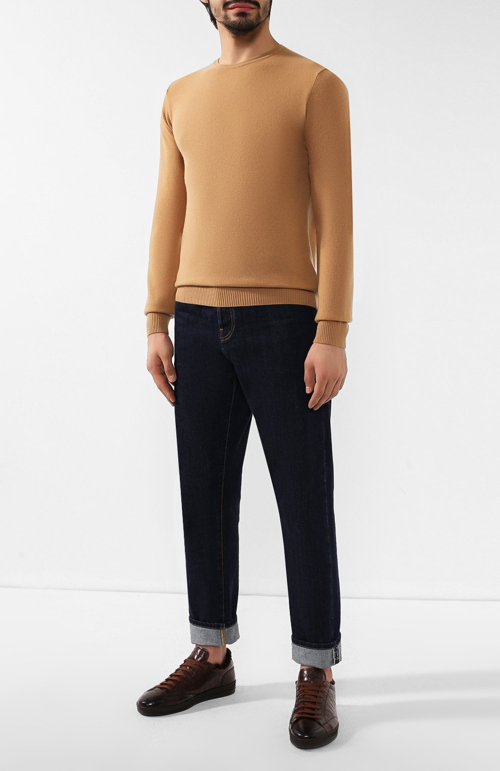 Мужские кожаные кеды DOUCAL'S темно-коричневого цвета, арт. DU1773GENTPM021TM06 | Фото 2