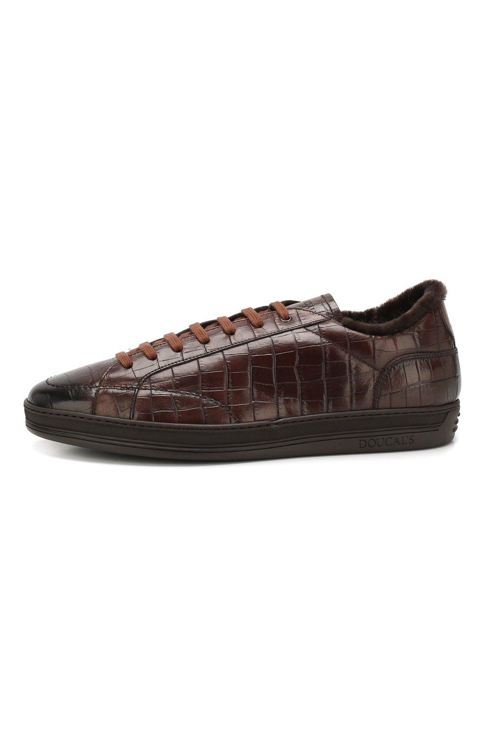 Мужские кожаные кеды DOUCAL'S темно-коричневого цвета, арт. DU1773GENTPM021TM06 | Фото 3