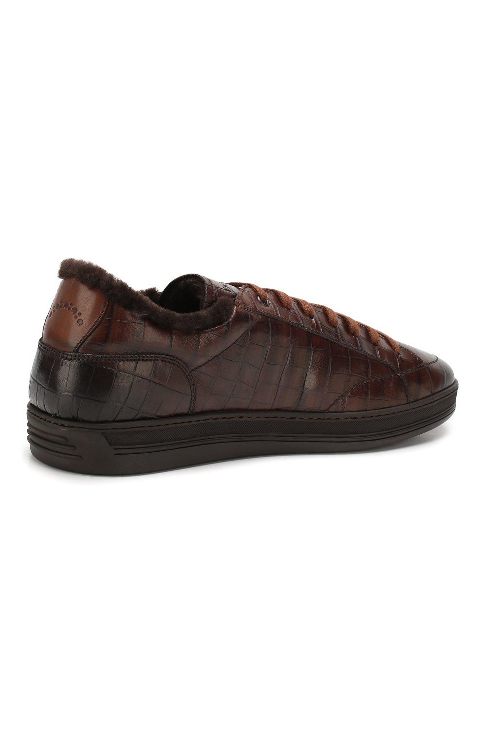 Мужские кожаные кеды DOUCAL'S темно-коричневого цвета, арт. DU1773GENTPM021TM06 | Фото 4