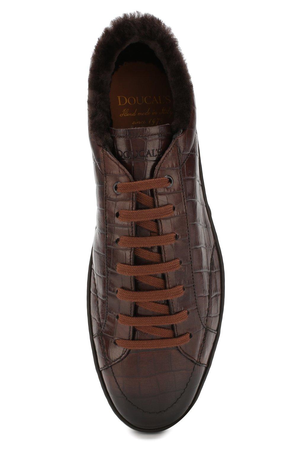 Мужские кожаные кеды DOUCAL'S темно-коричневого цвета, арт. DU1773GENTPM021TM06 | Фото 5