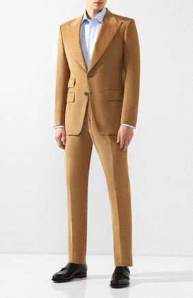 Мужской костюм из смеси хлопка и льна TOM FORD бежевого цвета, арт. 671R87/21ML4A | Фото 1