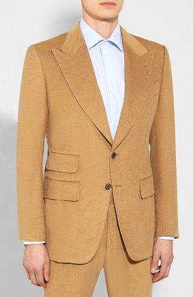 Мужской костюм из смеси хлопка и льна TOM FORD бежевого цвета, арт. 671R87/21ML4A | Фото 2