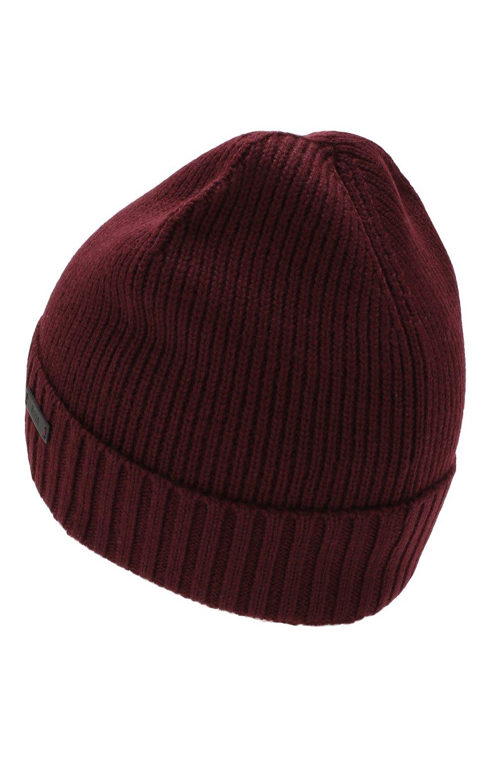 Мужская шерстяная шапка BOSS бордового цвета, арт. 50416234 | Фото 2