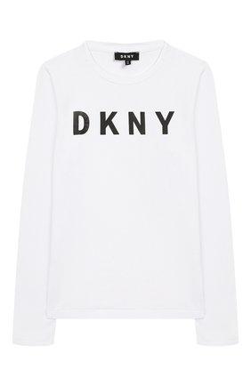 Детская хлопковый лонгслив DKNY белого цвета, арт. D35Q20/10B FW19/20 | Фото 1
